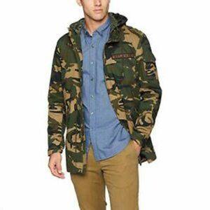 Levi's Camo Long Military Utility Parka Jacket Washed Cotton Hooded